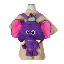"Backpack 17"" Plush Big Head Elephant Happy Kritters Purple NEW"