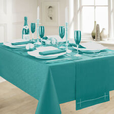 LINEN LOOK TEAL TABLE CLOTHS ELEGANT SLUBBED PARTY CHRISTMAS TURQUOISE GREEN