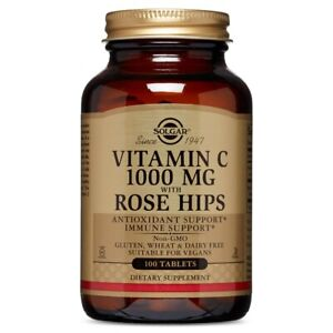 Solgar Vitamin C 1000 mg with Rose Hips - 100 Tablets FRESH, FREE SHIPPING