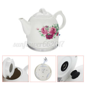 Ceramic Electric Water Kettle Home Retro Vintage Cordless Tea Pots 1200W 1.2