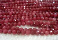 4MM 15inches Natural Brazilian Ruby Faceted Round Loose Beads Gemstone #