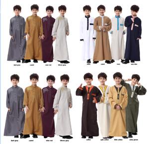 Childrens Thobe Kids Jubba Robe Arab Boys Abaya Saudi Dress Islamic Clothing New