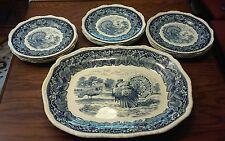 A Beautiful Mason's Vista Blue Turkey Center Platter  and 12 Dinner Plates