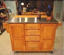 Kitchen Island Cart Breakfast Bar Stainless Steel NATURAL WOOD Storage Cabinet