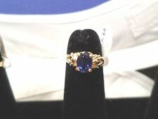 Child Ring Oval Blue Sapphire on solid 14k gold band