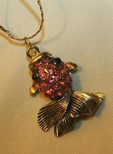 Rose Pink Rhinestones Pendant Necklace Delightful Sculpted Goldtone Fish Figural