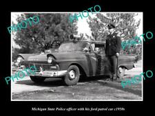 OLD POSTCARD SIZE PHOTO OF MICHIGAN STATE POLICE FORD PATROL CAR c1950s