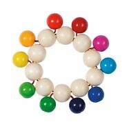 Heimess TOUCH RING RATTLE ELASTIC BEADS RAINBOW Baby Wooden Toy BN