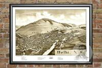Old Map of Delhi, NY from 1887 - Vintage New York Art, Historic Decor