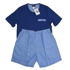 HANRO Pyjama Pajamas Gr M Kurzhosen Oberteil Blau Blue Shorts T-Shirt Portugal