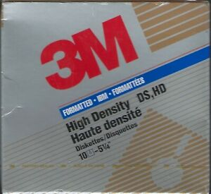 """3M DS HD 5.25"""" Diskettes 1.2MB Formatted 10 Pack NOS factory sealed"""