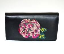 PORTAFOGLIO NERO donna borsello pochette eco pelle paillette clutch bag G2