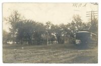 RPPC Trolley at MILTON Park PA Northumberland Pennsylvania Real Photo Postcard