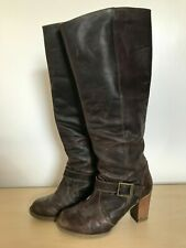 Womens Brown Leather Boots SIZE 6 Tall Knee High Winter Chunky Heel Shoes