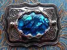 NEW  BLUE ABALONE BELT BUCKLE SILVER METAL  WESTERN COWBOY GOTH ROCKABILLY