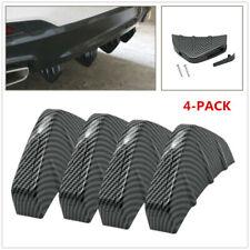 4pc Car Rear Bumper Lip Diffuser Shark Fins Splitter Carbon Fiber Look Universal