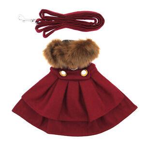 Wool Fur-Trimmed Dog Harness Coat by Doggie Design- Burgundy