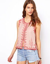 "NWD $256 WINTER KATE by NICOLE RICHIE PINK EMBROIDERED ""RANJI"" BOHO VEST TOP XS"