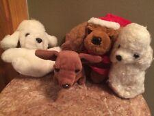 Set lot 4 Vintage puppy dog plush stuffed animal Santa hat prestige Russ berrie