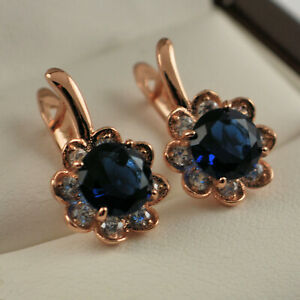 18ct Rose Gold Filled Flower Sapphire Blue CZ Crystal Drop Hoop Earrings UK