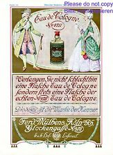 Perfume 4711 Austria ad 1908 Baroque rococo wig ball gown farthingale cleavage +