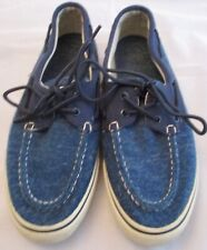 Mens Sperry Top Siders Size 9 1/2 M Blue Cloth with Canvas Shoes