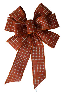 """Small 5-6"""" Hand Made Orange Squares Wired Wreath Bow Fall Thanksgiving"""