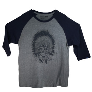 VANS Raglan Scull Native American Headdress Quarter Sleeve Size XL