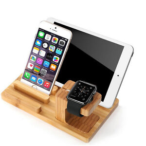 3/2 IN 1 Bamboo Charging Dock Station Holder Stand For Apple Watch iWatch iPhone