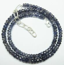 """65CT Natural Iolite Gemstone Rondelle Faceted Beads 19.5"""" NECKLACE 3.5-5.5MM S94"""