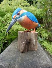 More details for fair trade hand carved made wooden kingfisher garden bird ornament statue
