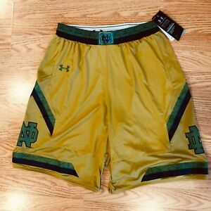 Notre Dame Fighting Irish Under Armour Authentic Basketball Shorts Size MED Gold