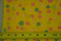 """M6267 35/"""" By-the-Half-Yard Vintage 1940's-60's Floral on Gold-Yellow Cotton"""