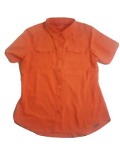 Pacific Trail Sun Protection Orange  Womans Short Sleeve Shirt Size Small