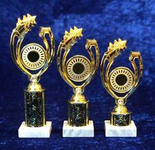 Set of 3 Blue Silver Jewelled Awards Dance Gymnastics Achievement FREE engraving