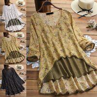 Plus Women Ladies Boho Floral Tunic Tops Loose Blouse Sleeve Long Hippie Shirt