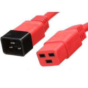 Power Extension Cable IEC C20 Male Plug to IEC C19 Female Socket Red 1m 1 metre