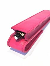 Hot Pink Leather Single Magnetic Flap Pen Case/Pouch Real Leather Hand Made