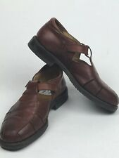 Cable & Co Fisherman Brown Leather Sandals Men Shoe Sz 7.5 Made in ITALY Slip-On