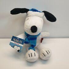 "Winter Snoopy Plush Stuffed Animal Dog 8"" Blue Scarf with tag Peanuts"