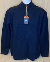TOMMY BAHAMA FLIP SIDE CLASSIC TWILL HALF ZIP SWEATER Mens Sz Med Navy Blue NWT!