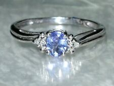 CLASSIC TANZANITE & DIAMONDS WHITE GOLD RING N/7 OLD STOCK CLEARANCE SALE