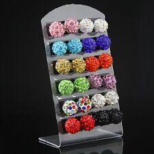 12X women Bling Disco Ball Stud Earrings Rhinestone Clay beads crystal wholesale