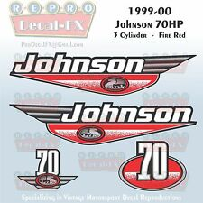 1999-00 Johnson 70HP 3 Cyl Fire Red Outboard Reproduction 4Pc Marine Vinyl Decal