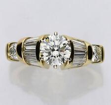 Anillo de compromiso diamante 18 CT oro amarillo 1,10 QUILATES brillante redondo
