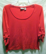 """Chico's 1 coral cotton knit  3/4 sleeve top w roll-up tabs   42"""" EC"""