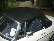 NEW MGB ROADSTER BLACK CLOTH ZRW HOOD ON HEADER RAIL WITH CATCHES & SCREWS   ***