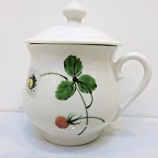 Limoges France Demitasse Cup and Lid, Fruit Theme, Used no Box