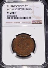 1837 Canada 1 Sou, Belleville Issue, NGC VF 20, LC-29B