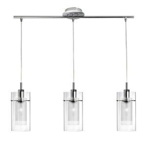 Searchlight 3 Lights Modern Chrome Double Glass Design Bar Ceiling Fitting Light